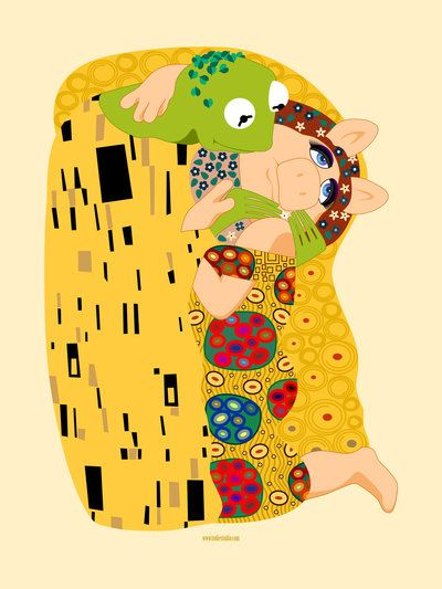 Kermit & Miss Piggy in Gustav Klimt's The Kiss