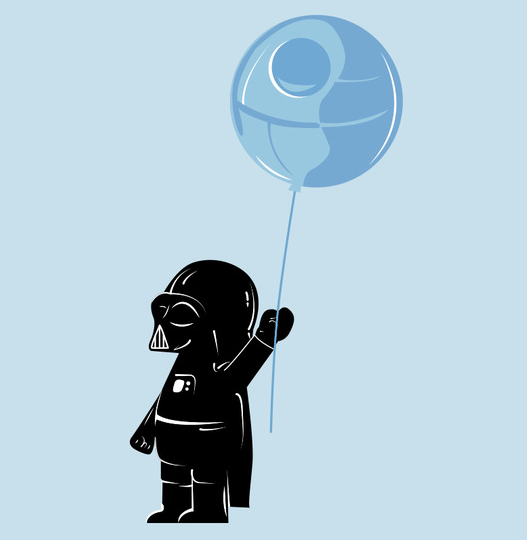 Baby Vader with Death Star Balloon