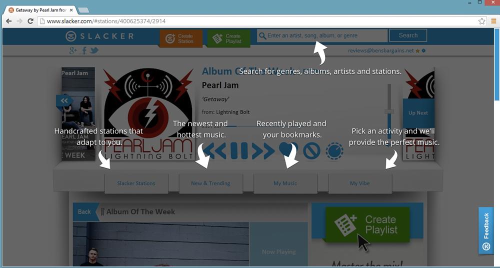Slacker-browser slacker radio review