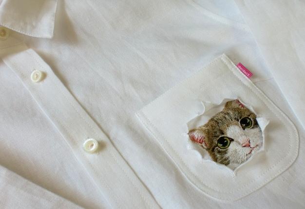 Cat Peeking out of torn pocket