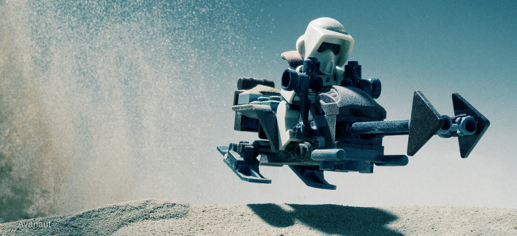 Zipping across Tattooine on a sand speeder