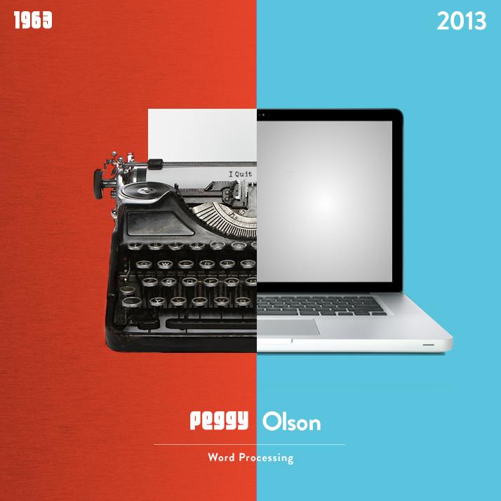 Mad Men's Peggy Olsen typewriter versus a MacBook Pro