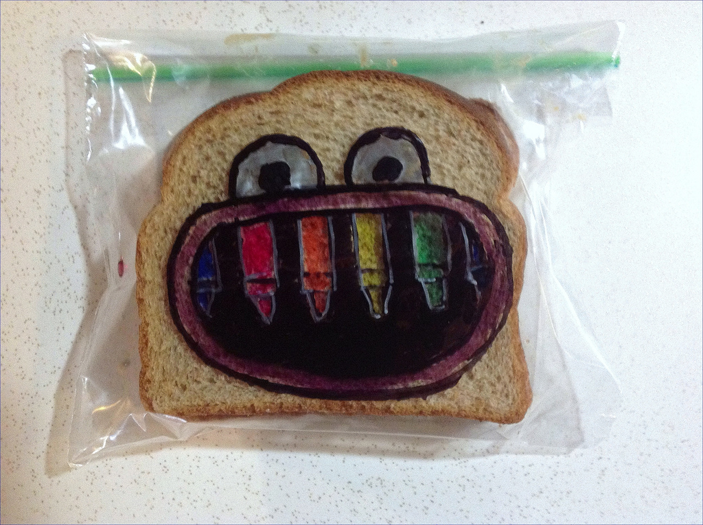 Sandwich Bag Art: Crayon Teeth Monster