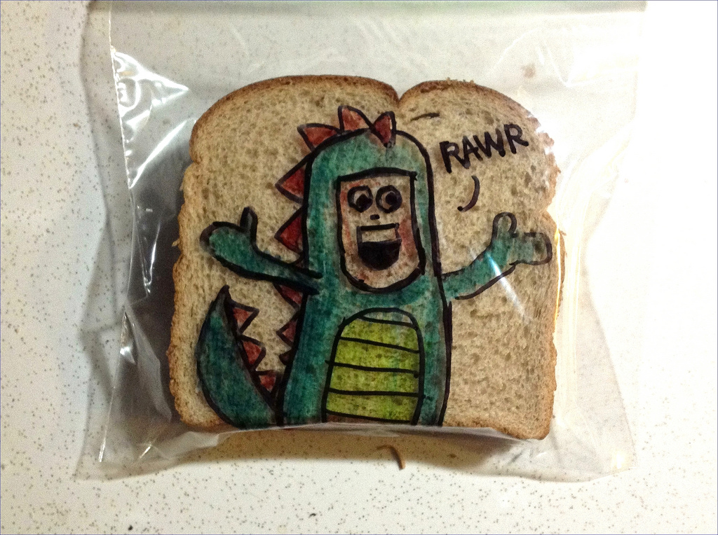 Sandwich Bag Art: A guy in a dragon costume