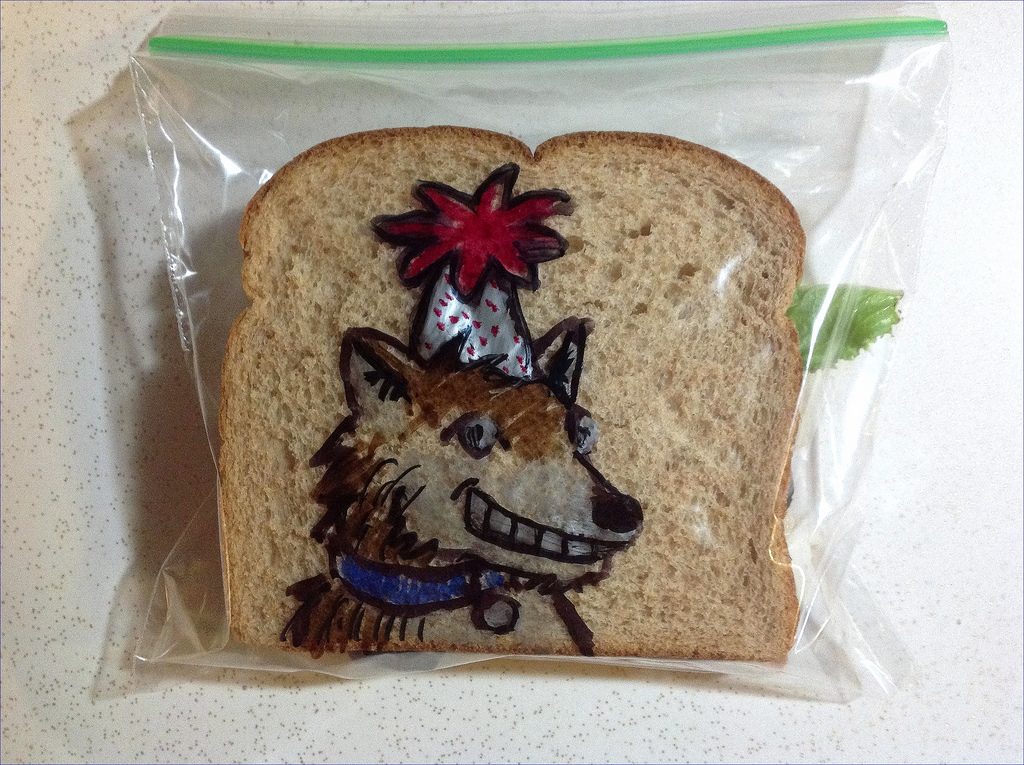 Sandwich Bag Art: A Wolf wearing a party hat
