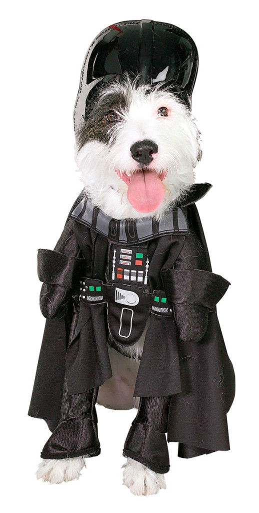 A terrier wearing a Darth Vader costume