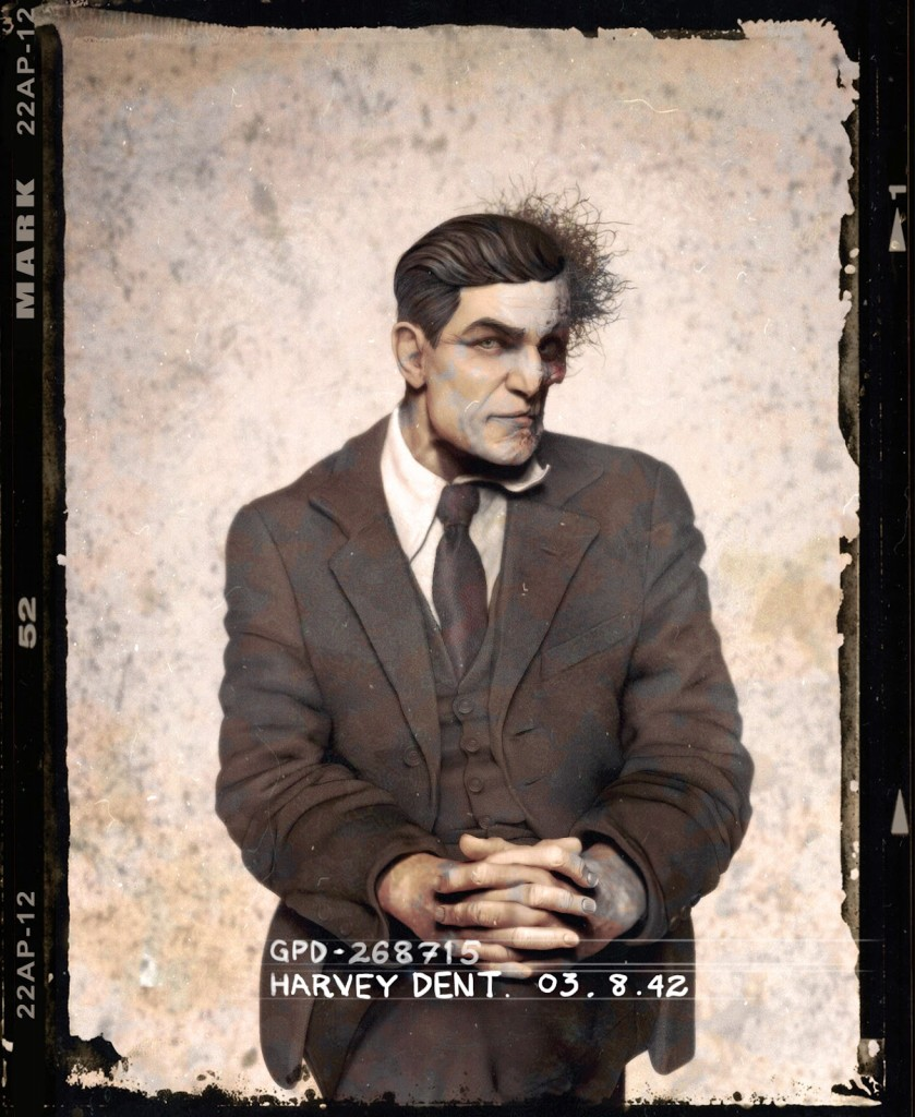 Two-Face posing for a mug shot in the 1940s.