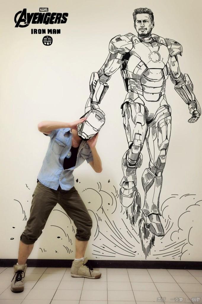 Wearing Iron Man's helmet