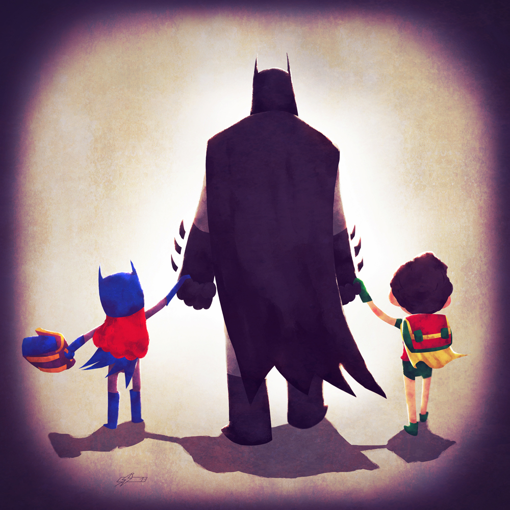 Batman with Batgirl and Robin
