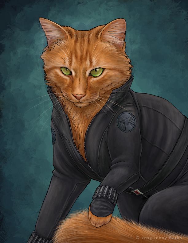 Black Widow as a cat