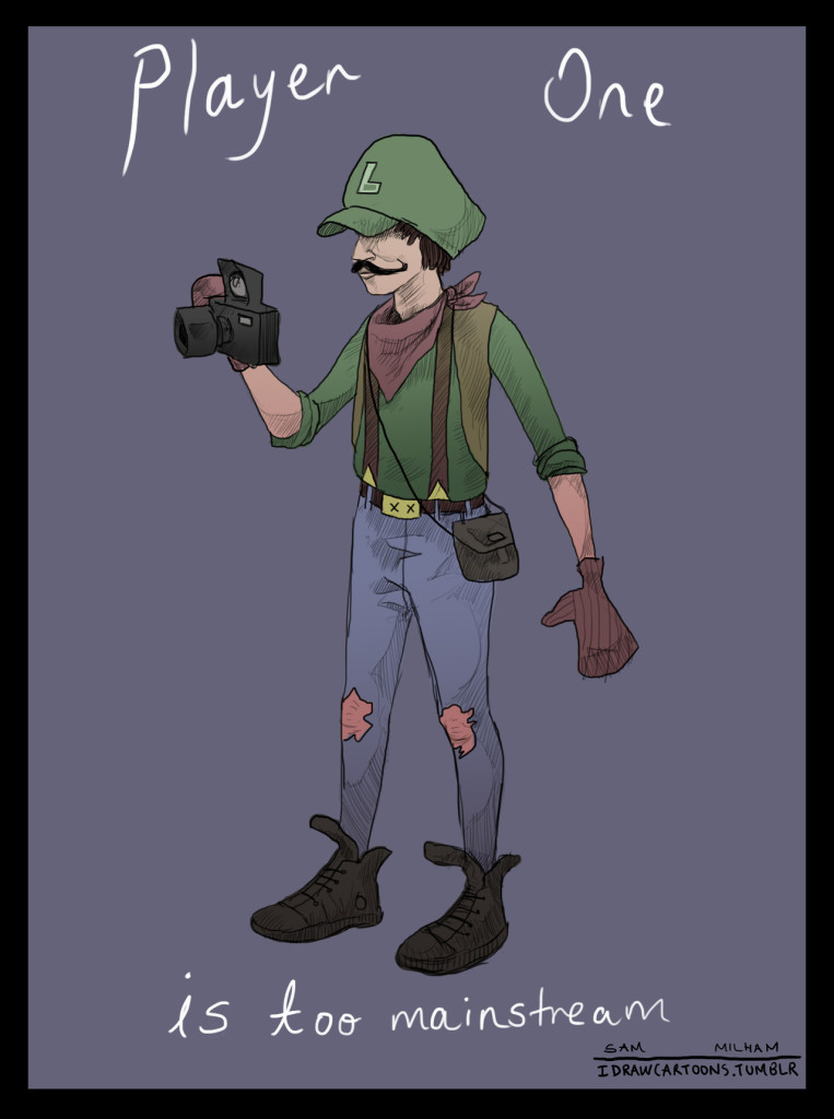 Hipster Luigi shooting on a classic camera while wearing mittens