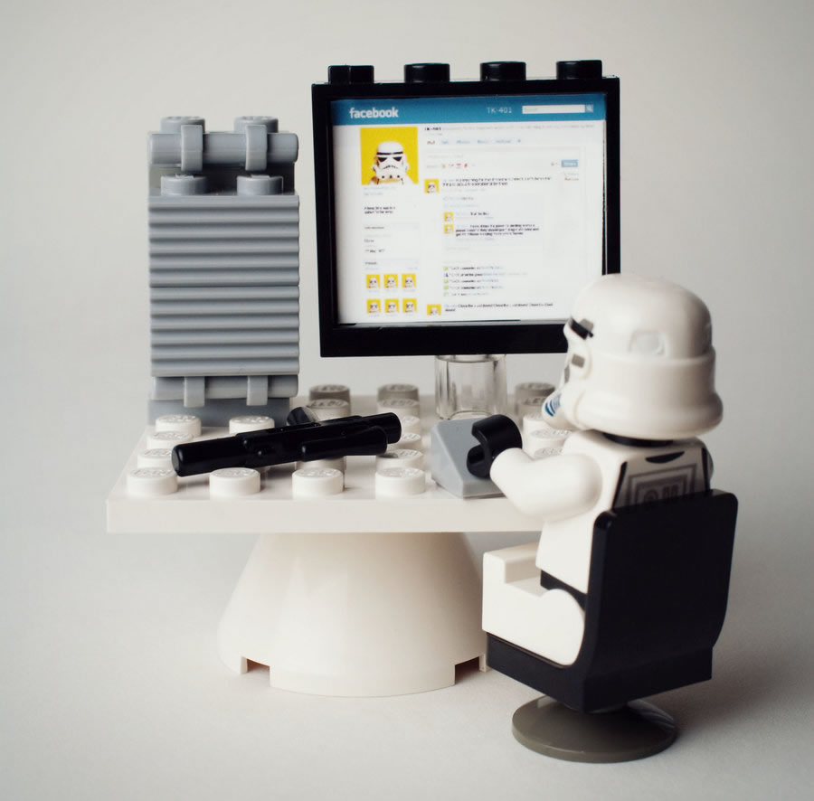 LEGO Stormtrooper checking up on his Facebook proflie