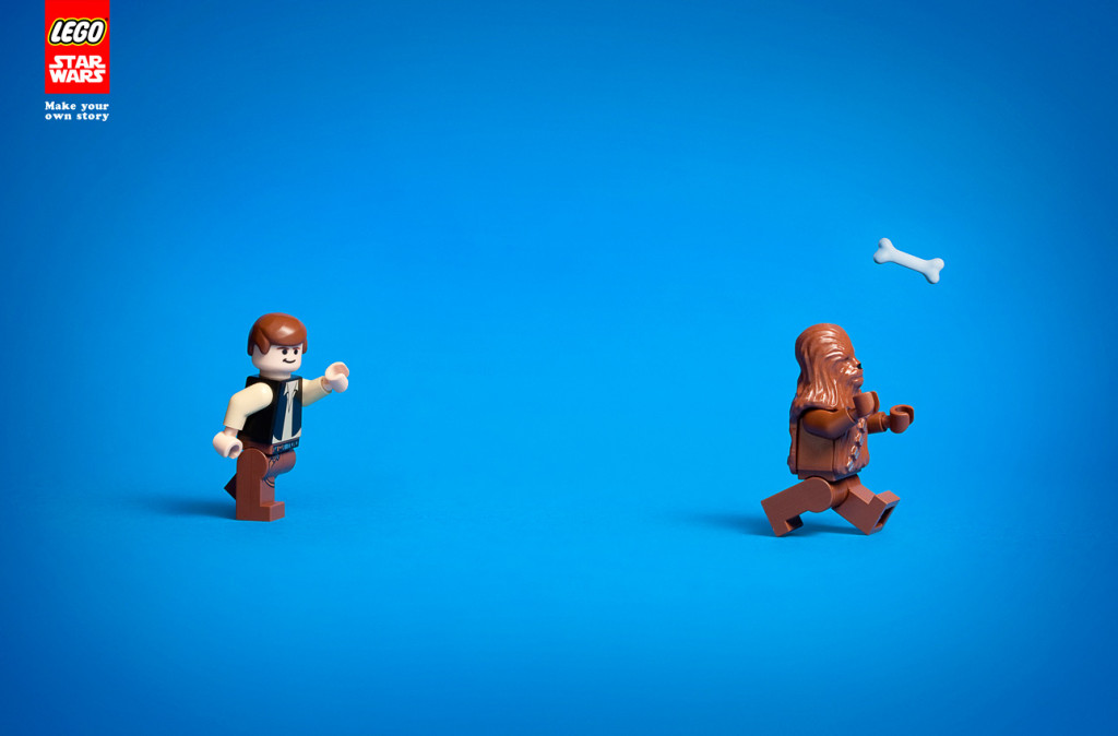 LEGO Han Solo and Chewbacca playing fetch