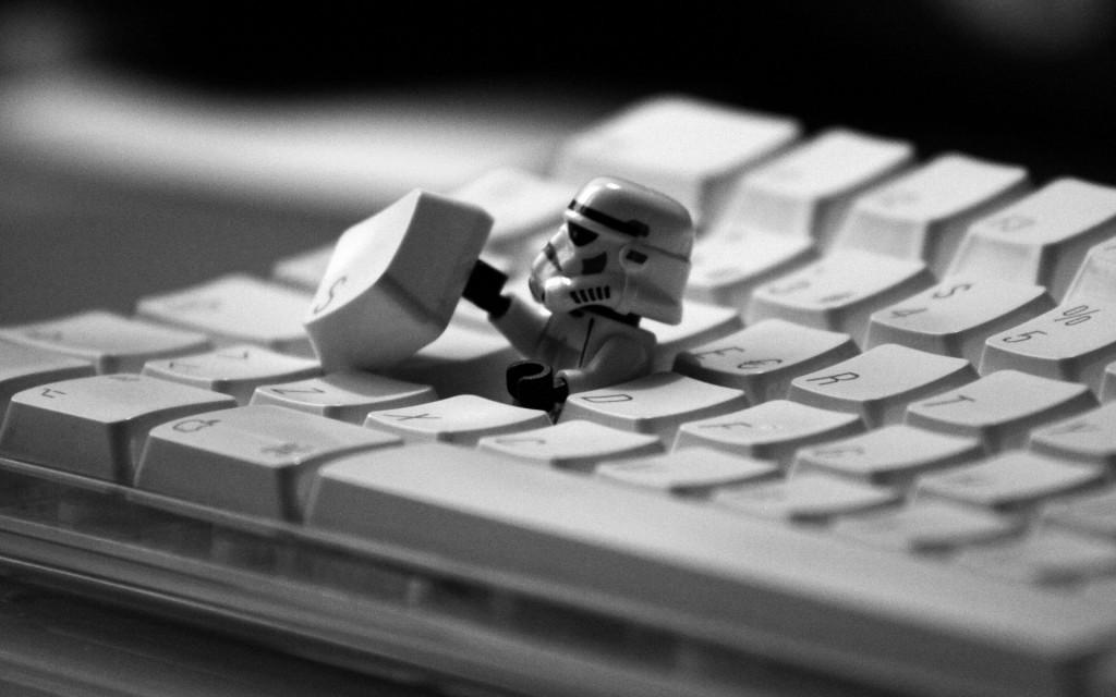 LEGO Stormtrooper hiding in Keyboard