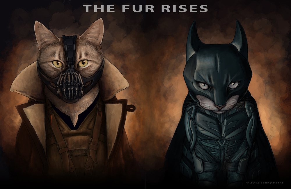The Dark Knight and Bane in The Fur Rises