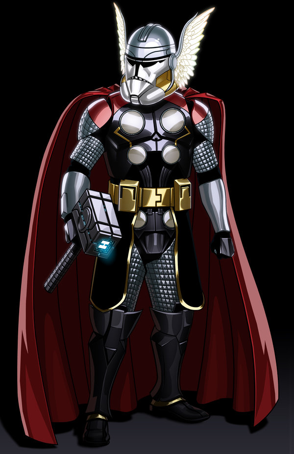 Thor with hammer as a Star Wars stormtrooper