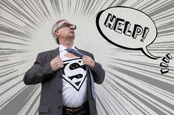Father's Day superdad Superman symbol with someone calling for help