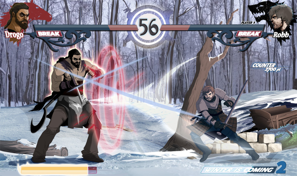 Robb Stark and Khal Drogo fighting in the frozen forest