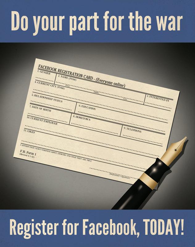Facebook registration: Do your part for the war