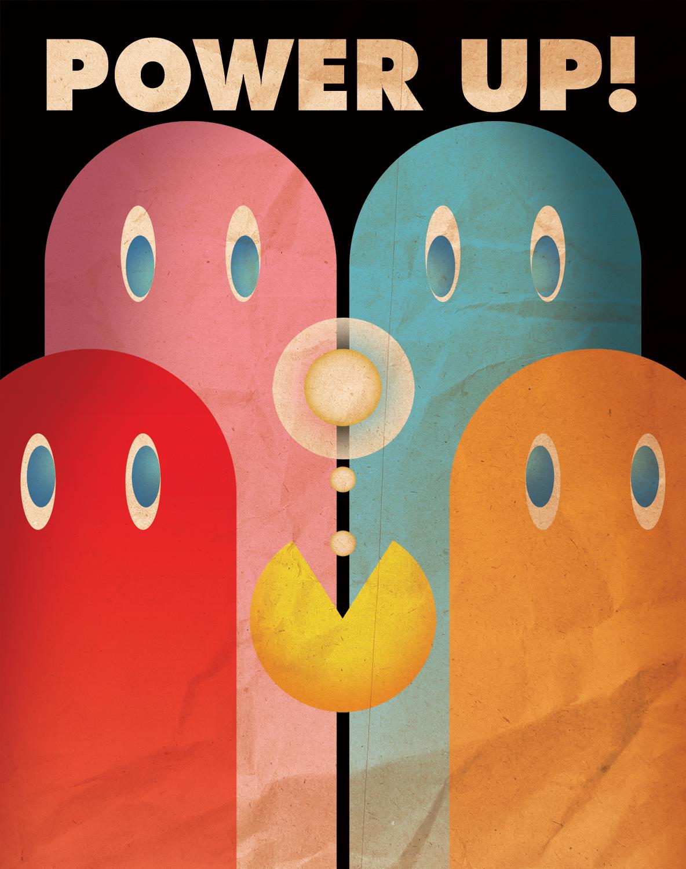 Power Up Ten Retro Pac Man Propaganda Posters