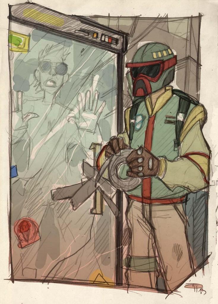 Boba Fett encasing Han Solo