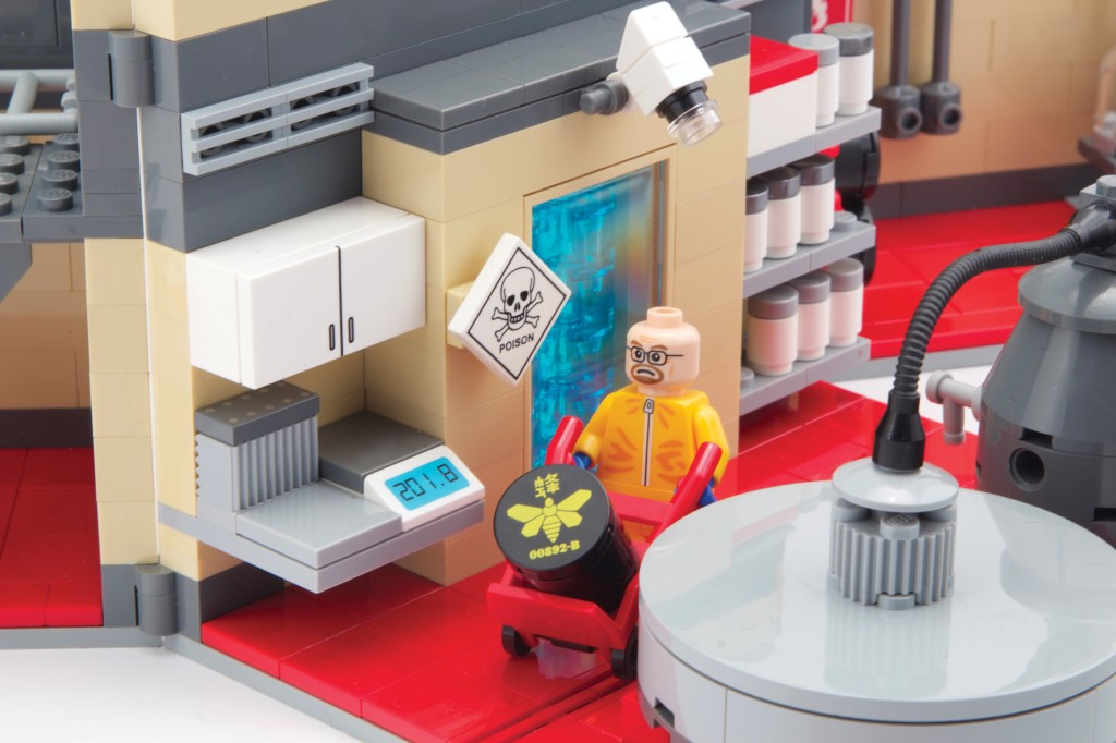 LEGO Walter White moving a barrel of methylamine in the lab