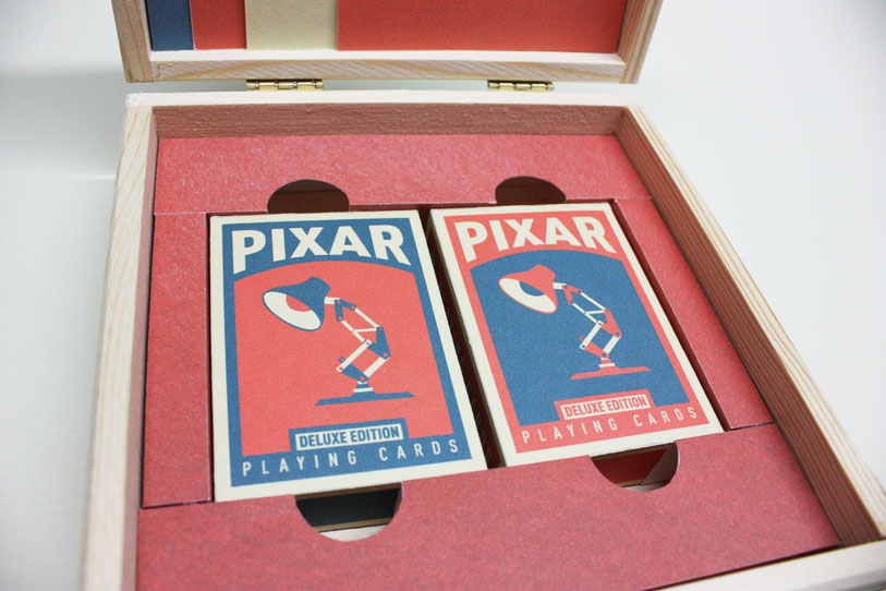 Card boxes in the wooden case