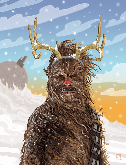 Chewbacca Star Wars christmas cards front