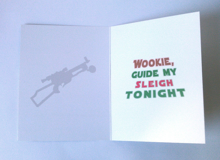Chewbacca Star Wars christmas cards inside