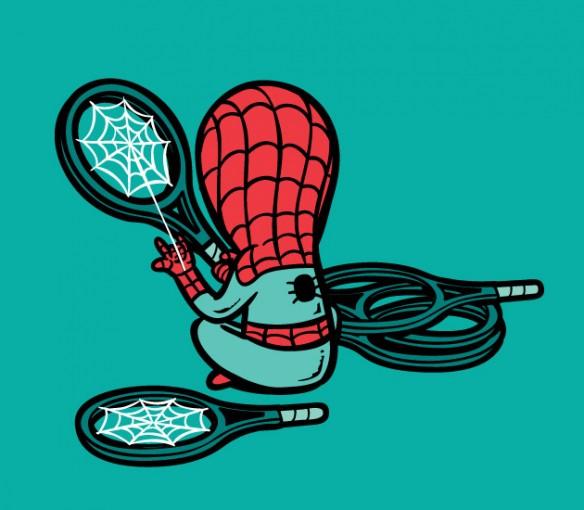 Spider-man tennis racket repairman