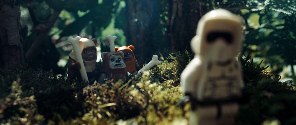 Ewoks checking out the stoomtrooper