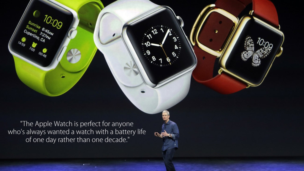 The Apple Watch is perfect for anyone  who's always wanted a watch with a battery life  of one day rather than one decade. Fake Tim Cook Quote meme 1