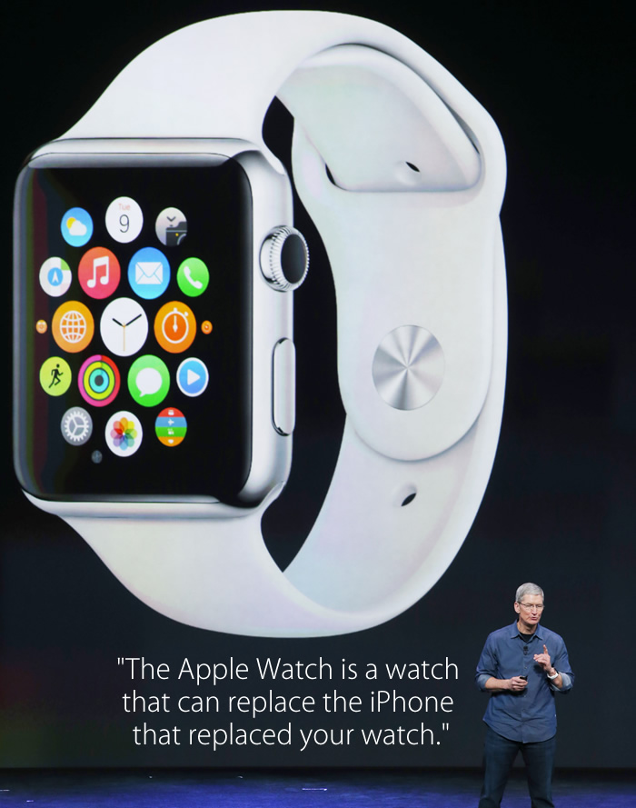 The Apple Watch is a watch that can replace the iPhone that replaced your watch. fake tim cook quot 3