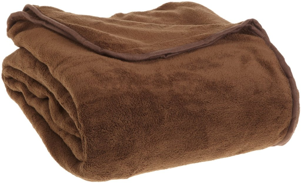 All Seasons Collection Micro Fleece Plush Solid F/Q Blanket, Chocolate Berkshire Indulgence