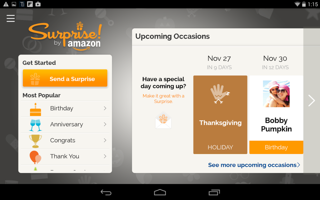 The calendar in Amazon's iOS and Android Surprise! App.